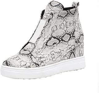 YYW Womens Casual Wedges Sneakers Side Zipper High Top Hidden Heel Ankle Booties Wedge Sneaker Boot Shoes
