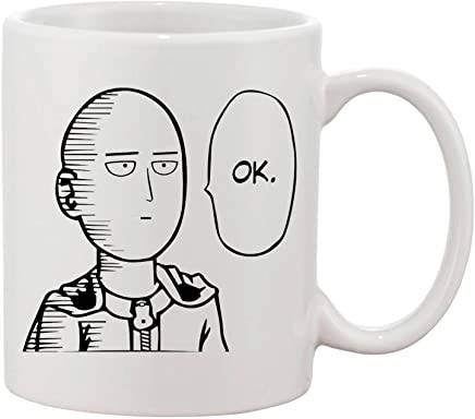 ZMvise One Punch Man Ok Fashion Quotes White Ceramic Mug Cup Perfect  Christmas Halloween Gfit 84cd2f13425b
