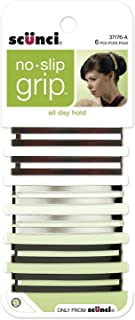 Scunci No-Slip Grip Open Center Stay Tight Barrettes, Assorted Colors, 6-Count