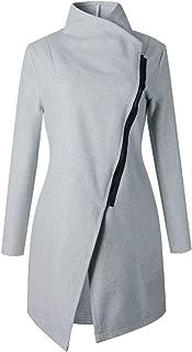 Long Sleeve Asymmetrical High Neck Zipper Side Wrap Collar Woolen Coat Trenchcoat Jacket Top Light Grey