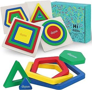 Japace Puzzles de Madera Educativos para Bebé, 4 Piezas Rompecabezas de Madera Arcoíris Juguetes de Forma Geométrica, Jugu...