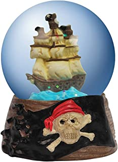 Westland Giftware Water Globe Pirate Ship Figurine Miniature Tiny Collectible Decorative Accent Resin 45mm