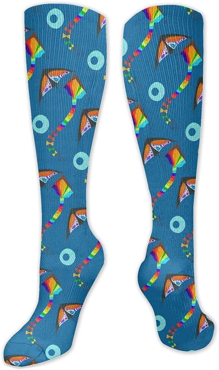 Kites Pattern Knee High Socks Leg Warmer Dresses Long Boot Stockings For Womens Cosplay Daily Wear