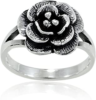 925 Sterling Silver Vintage Style Classic Rose Flower Ring - Nickel Free