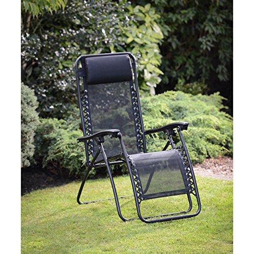 HK: Nuevo TEXITLENE ZERO GRAVITY tumbona DELUXE silla y negro almohada resistente a la intemperie