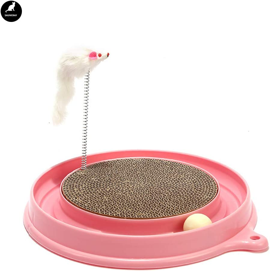 SAUWERAY Cat Scratch Credence Board Pet Track Toy Manufacturer regenerated product Teasing Ball Turntable
