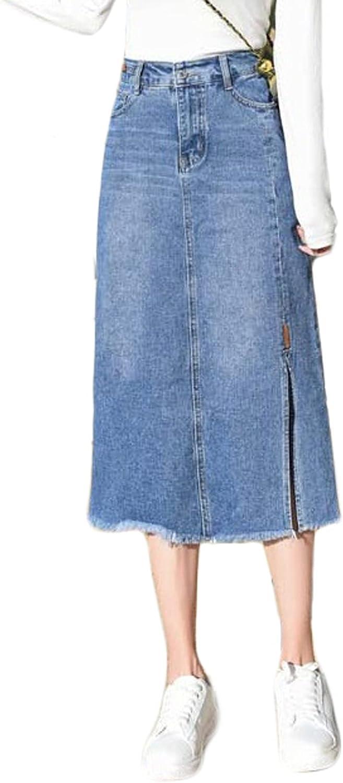 CHARTOU Women's Elegant High Waist Split Tassel Midi Long A-Line Denim Skirt