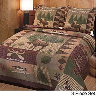3 Piece Brown Green Burgundy Outback Theme Quilt Full Queen Set, Patchwork Lodge Cabin Hunting Everest Fishing Bedding, Patch Work Hunter Moose Pinecone Nature Southwest Themed Pattern