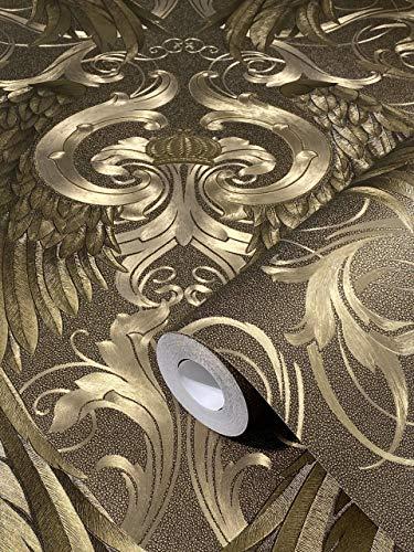 Tapete Gold Metallic Flügel, Krone, Edel Klassisch Vliestapete Glööckler Imperial von marburg für Schlafzimmer, Wohnzimmer oder Küche Made in Germany 10,05m X 0,70m 52540 BEKANNT AUS DEM TV!