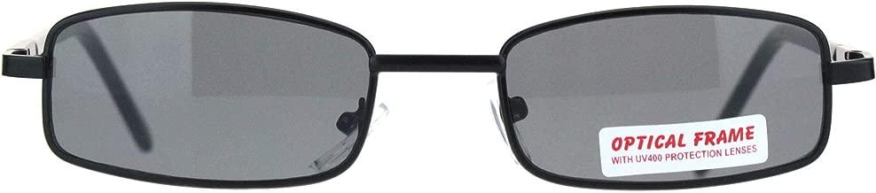 SA106 Extra Small Mens Rectangular Metal Rim Classic Color Lens Sunglasses