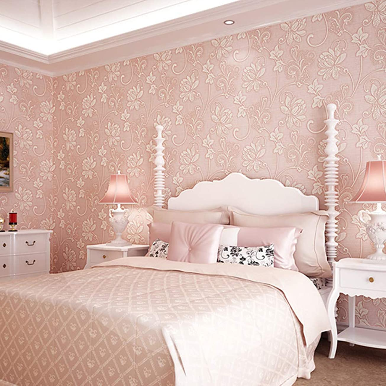 観客リズミカルな急ぐACHICOO 壁紙 寝室 リビングルーム 装飾 10M 3D 花柄 ライトピンク