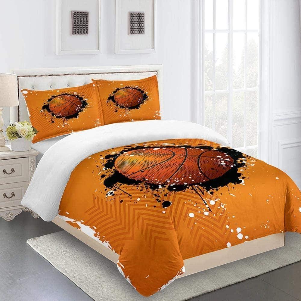 XSHTdecor Duvet Cover 3D Yellow Print Miami Mall Printed Fresno Mall Basketball Bedding
