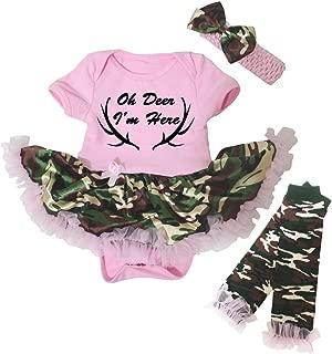 Oh Deer I'm Here Pink Bodysuit Camouflage Tutu Leg Warmer Nb-18m