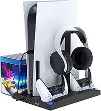 FYOUNG Chargeur pour PS5 Manette avec Ventilateur de Refroidissement, Multifonction Vertical Support Accessoires pour Play...
