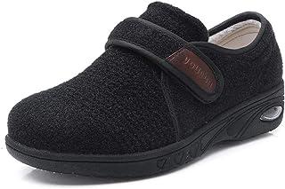 B/H Chaussons Montants Homme DiabéTiques RéGlable,Chaussures diabétiques Automne et Hiver, Pouce réglable valgus-50_Black,...