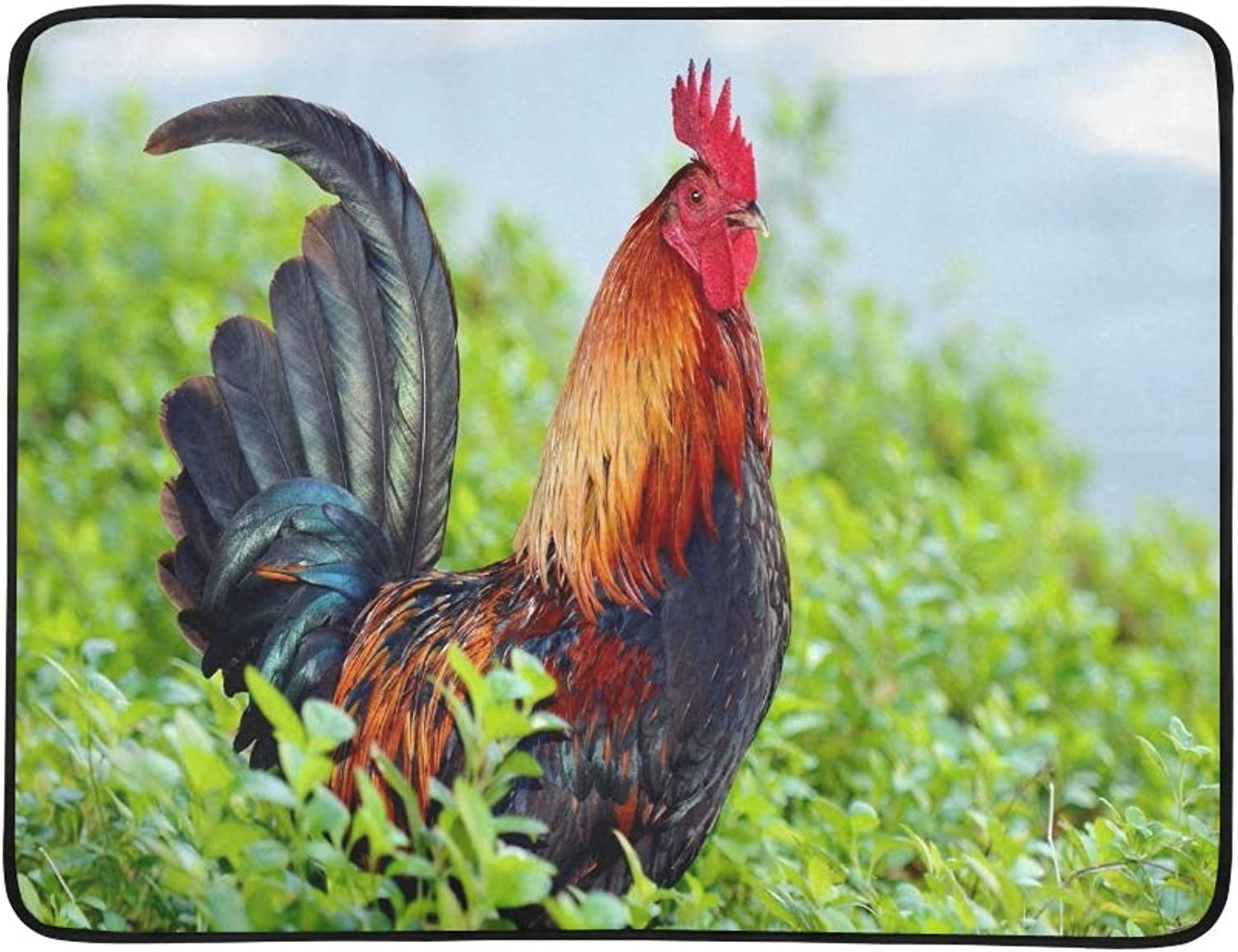 colorful Rooster Standing Tall Ground Cover Portable and Foldable Blanket Mat 60x78 Inch Handy Mat for Camping Picnic Beach Indoor Outdoor Travel