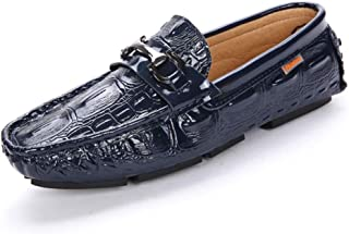 ZiWen Lu Driving Loafer for Men Boat Moccasins Slip On Style PU Leather Retro Personality Texture Metaldecor (Color : Blue, Size : 7.5 UK)