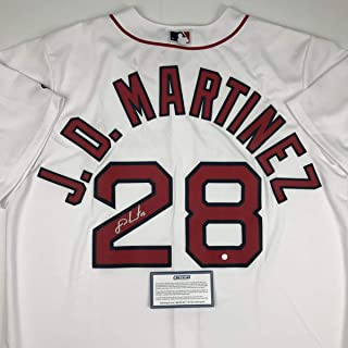 Autographed/Signed JD J.D. Martinez Boston White Baseball Jersey Steiner Sports COA