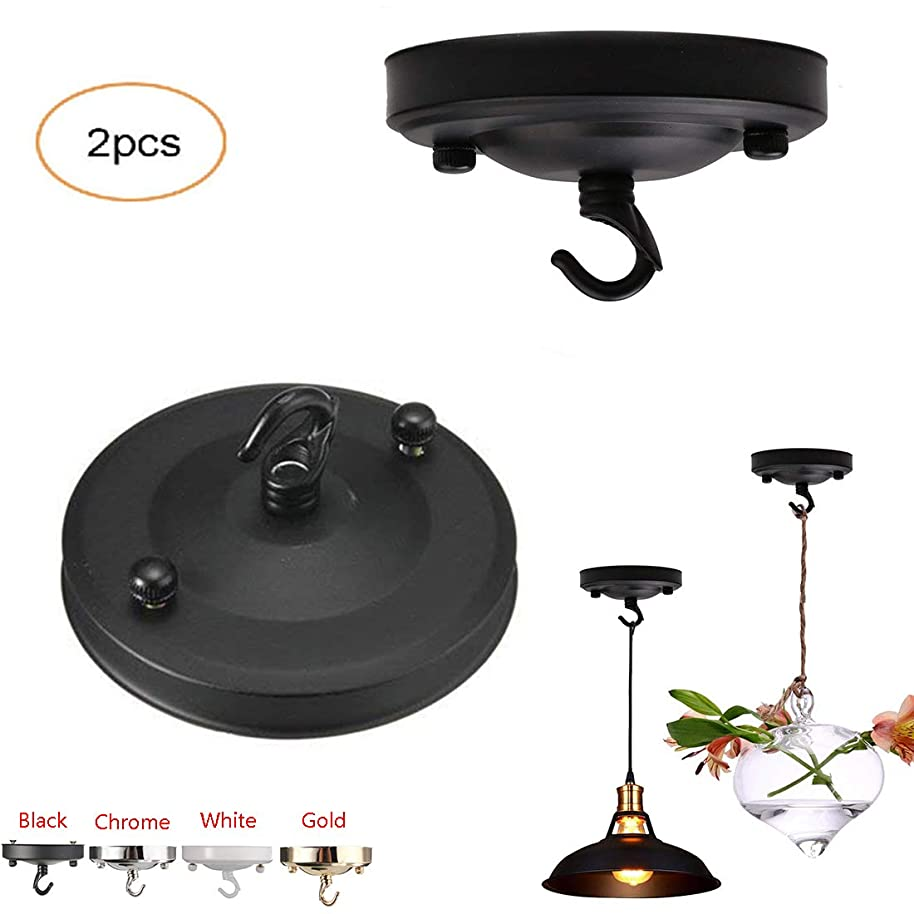 ?Vintage Chandelier Ceiling Plate,Retro Iron Ceiling Rose Hook Plate Holder Pendant Lamp Roof Sucking Disk Chassis Light Fitting Accessory DIY Creative (Black)