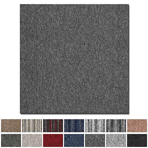 Vienna Tapijttegels, zelfliggend, rug: bitumen, antislip, duurzaam, vloerbedekking voor kantoor en bedrijf, 50 x 50 cm, vele kleuren grijs