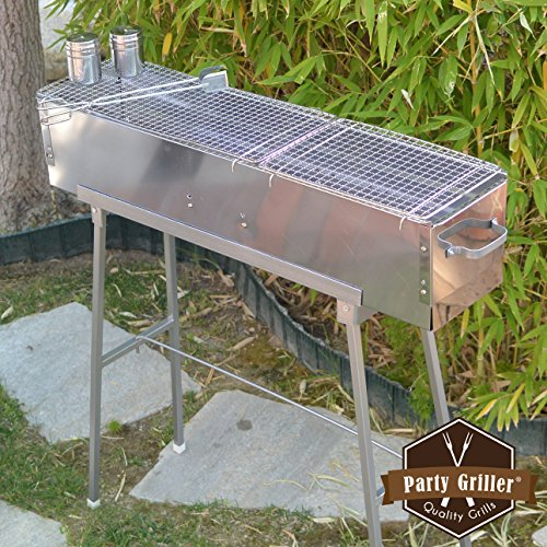 "Party Griller Yakitori Grill 32"" x 8"" w/Double Mesh Grill Grate - Portable Stainless Steel Charcoal BBQ Grill. Great Satay, Japanese Hibachi. Makes Juicy Lamb Shish Kebab, Shashlik, Spiedini Skewer"