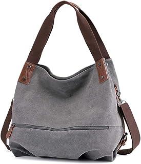 Bolso al hombro para mujer, estilo casual, vintage, de lona, para el trabajo, para ir de compras, para llevar a la mano