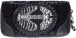 Lost Queen Goth Steampunk Flocked Ribcage Skeleton Cameo Zip Around Wallet