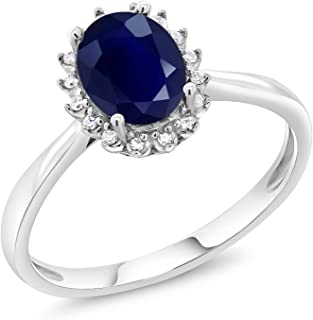 Gem Stone King 10K White Gold Blue Sapphire and Diamonds Gemstone Birthstone Women's Engagement Ring 1.79 Ctw Oval (Available 5,6,7,8,9)