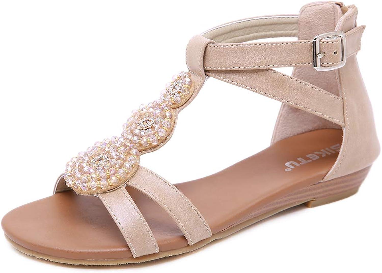 AGOWOO Womens Sandals Fashion Beaded Zipper Flat Closed Back Sandles