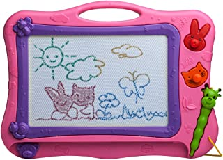 iKidsislands IKS77P [Travel Size] Colour Magnetic Drawing Board for Kids & Toddlers - Non Toxic Mini Magna Sketch Doodle E...