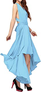 FYMNSI Women's Convertible Multi Way Transformer Wrap Dress Solid Cocktail Evening Gown Homecoming Hi-Lo Prom