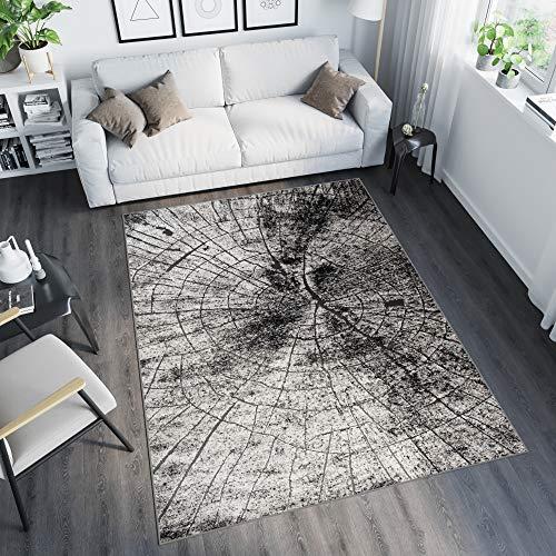 Tapiso Tango Teppich Modern Kurzflor Grau Baumstamm Natur Streifen Abstrakt Muster Designer...