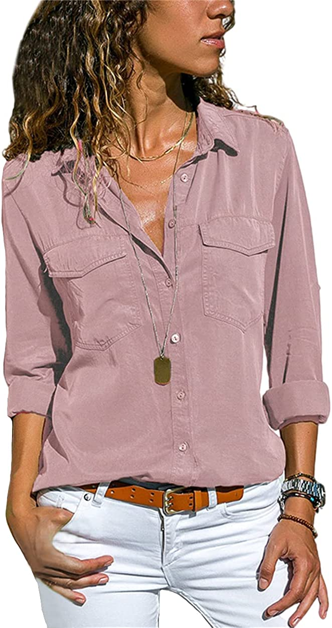Guteidee Womens 2021 Fashion Summer Casual V Neck Work Shirts Short Long Sleeve Blouse Roll Up Cuffed Blouses