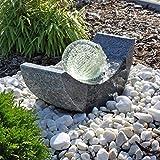 CLGarden Granit Springbrunnen SB15 mit drehender Glaskugel und LED Beleuchtung Gartenbrunnen Kugelbrunnen