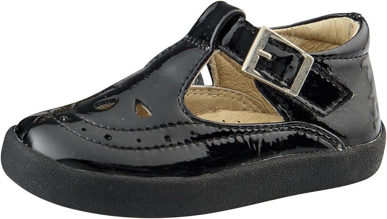 Old Soles Girl's Royal Shoe Premium Leather T-Strap Shoes (Black,