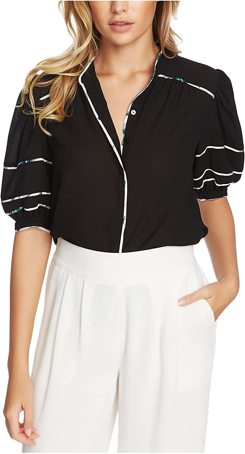 1.STATE Short Sleeve Contrast Piped Button-Down Blouse