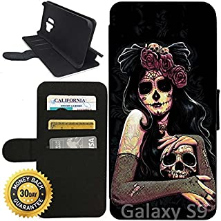 Flip Wallet Case for Galaxy S9 (Dia De Los Muertos Skull Flower) with Adjustable Stand and 3 Card Holders | Shock Protection | Lightweight | Includes Stylus Pen by Innosub