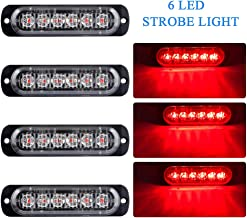 4 Unids Ultra Thin 6 LED Luces de Advertencia de Emergencia Peligro Estroboscópico Intermitente Luz Universal para 12-24 V Coche Vehículo Camión Remolque Caravana Motocicleta Van(Rojo)