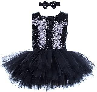 Sequins Girls Tutu Dress Sleeveless Wedding Party Dress Princess Ball Gown Tulle Performance Dress