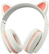 Censi Music Headset Headphone Creative Cat Ear Stereo Over-Ear Game Gaming Bass Headset Noise Canceling Headband Earphone with MIC Rechargeable Port for Bluetooth 4.0 Device (White, Blutooth)