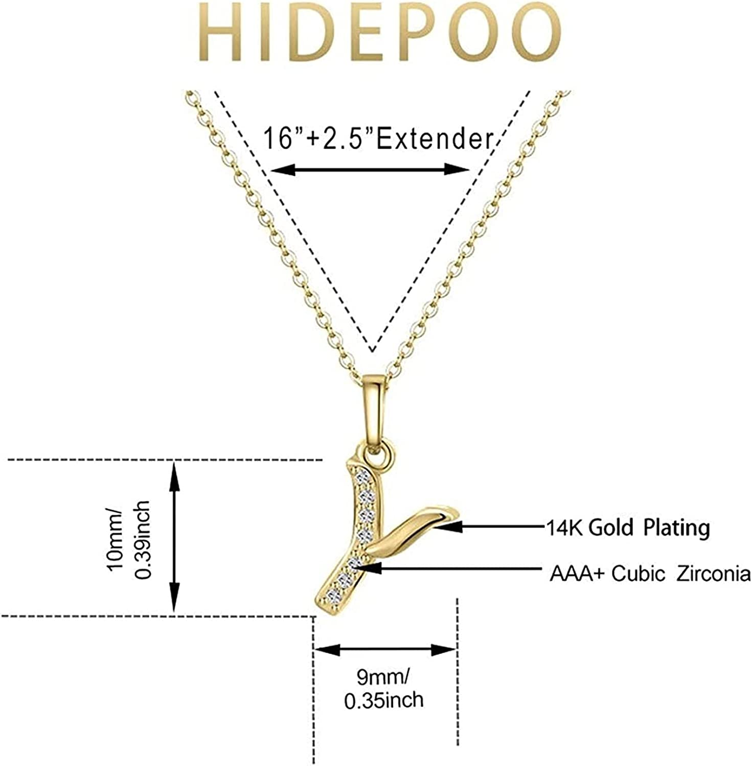 Jsmhh Necklace for Women – 14k Gold Filled Dainty Cubic Zirconia Monogram Letter Pendant Necklace Tiny Cursive Uppercase 26 AlphabetNecklace Charm Jewelry Gifts for Girls Bridesmaid (Color : Y)