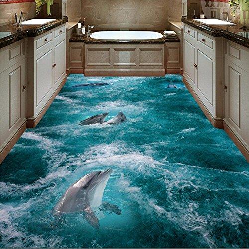 Woonn 3D-vloertegels voor het strand, dolfijn, golven, om op de achtergrond een aangepaste grote Fresko bodem te beschilderen 12
