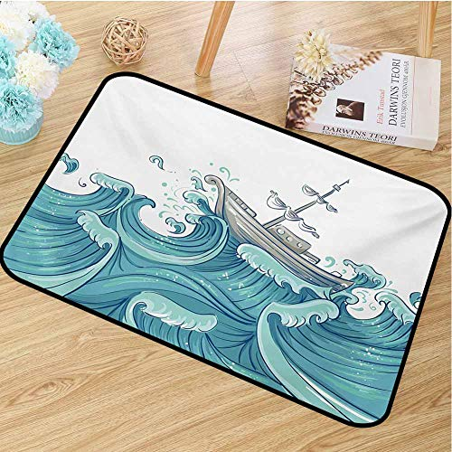 hengshu Nautical Inlet Outdoor Door mat Ship Being Tossed by Giant Ocean Waves Aquatic Old Vessel Sea Journey Illustration Catch dust Snow and mud W31.5 x L47.2 Inch Aqua Taupe
