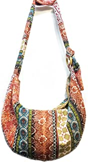 Women's Sling Crossbody Bag Thai Top Handmade Shoulder Bag with Adjustable Strap