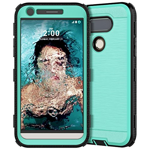 LG G5 Case, CinoCase Heavy Duty Protective Case Hybrid TPU Bumper Shockproof Case with Brushed Metal Texture Hard PC Back for LG G5 (2016) Mint
