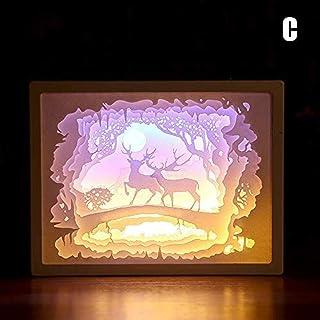 Wangzj Papercut Light Boxes 3D Shadow Box Led Light Night Lamp Art Decoration 3D Paper Carving Light Lamp LED Gift Decorativo Mood Light para niños C