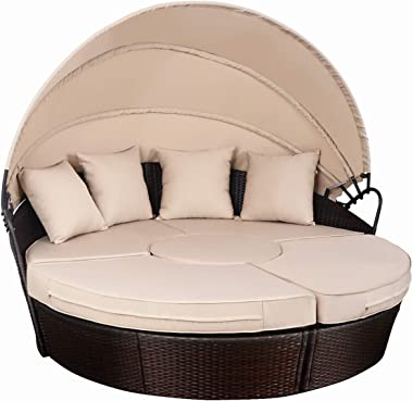 Dawndior Retractable Canopy, Mix Brown Outdoor Patio Sofa Rattan Furniture Daybed with Round Retrac