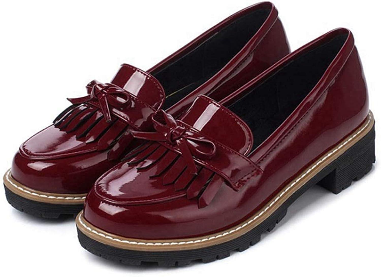 GIY Womens Leather Slip on Flat Oxfords shoes Fringe Low Heel Platform Loafers Dress Pumps shoes