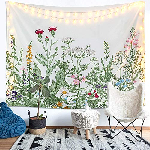 LOMOHOO Colorful Floral Plants Tapestry Vintage Herbs Tapestry Wild Flowers Tapestry Wall Hanging Nature Scenery Tapestry for Living Room