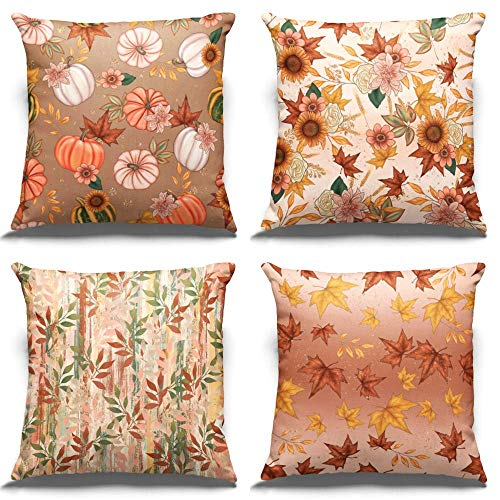 PARTY BUZZ Fall Boho Throw Pillow Covers (18 x 18, Set of 4) with Autumn Leaf, Pumpkin and Sunflower Patterns